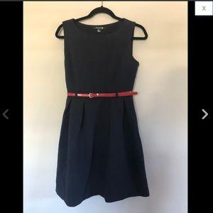 Navy Red Belted Sleeveless Pleated Skater Dress M
